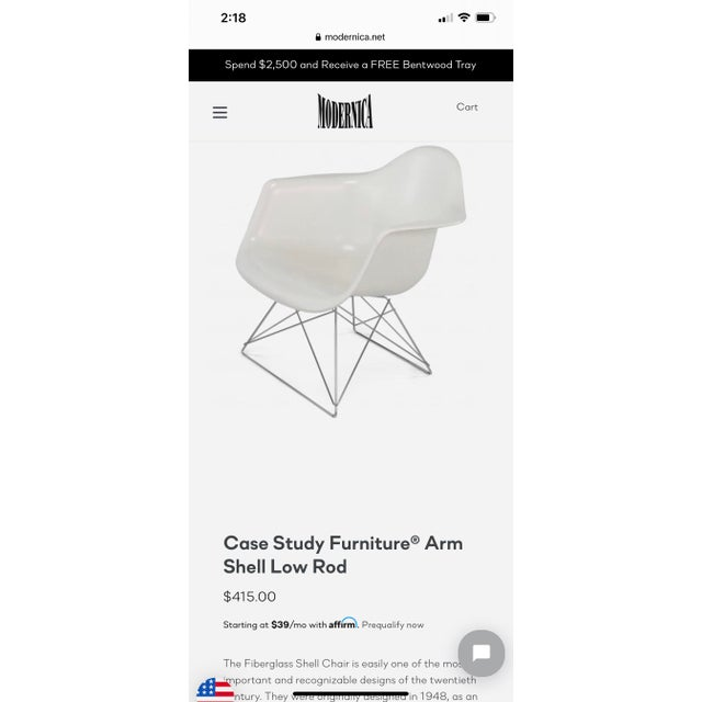 Mid-Century Modern Modernica Eames Fiberglass Shell Chair With Case Study Low Base For Sale - Image 3 of 4