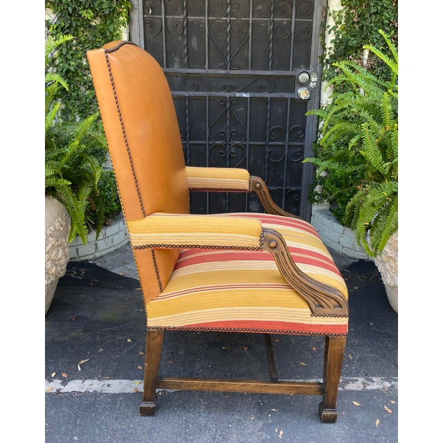 English Antique Mahogany Leather Desk Chair W Linen Stripe Seat For Sale - Image 3 of 6