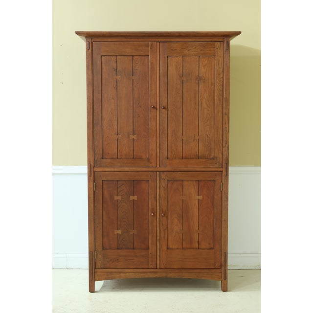 Stickley Arts & Crafts Mission Cherry Tv Armoire For Sale - Image 13 of 13