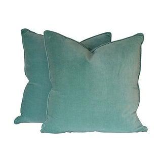Seafoam Blue Velvet Pillows - A Pair