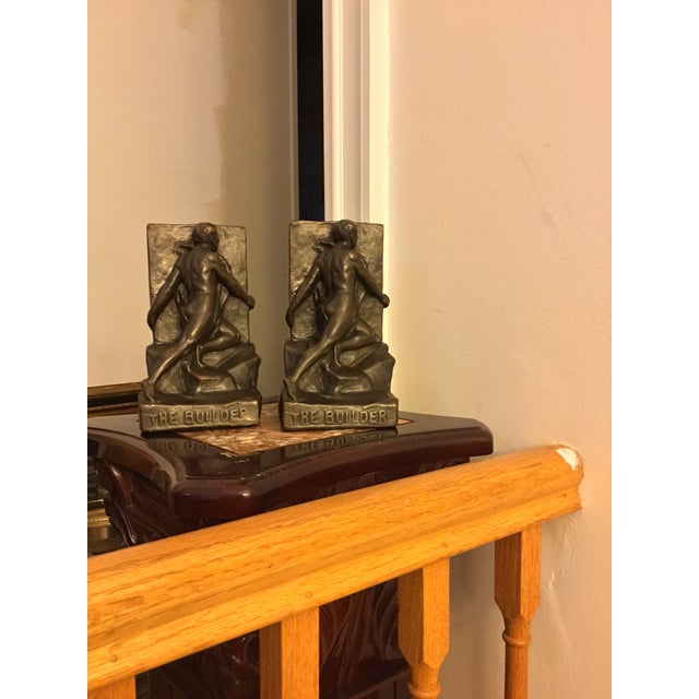 Metal Signed Kileny Bronze Bookends - A Pair For Sale - Image 7 of 7