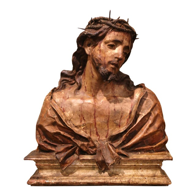 18th Century Italian Carved Paper Polychrome Mâché Christ Bust on Wooden Stand For Sale