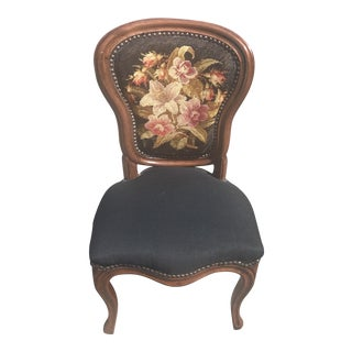 Vintage Needlepoint Accent Chair For Sale