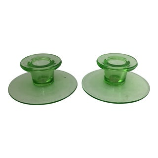 Vaseline Green Glass Candle Holder Set - a Pair For Sale
