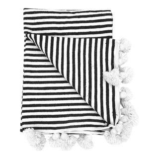 Moroccan Black & White Striped Pom Pom Blanket For Sale