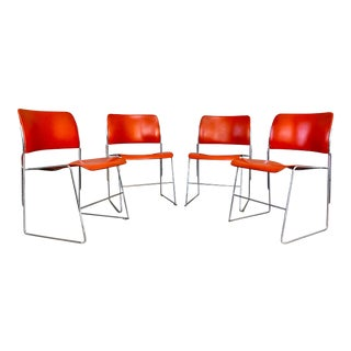 1970s Vintage David Rowland 40/4 Orange and Chrome Stacking Chairs - Set of 4 For Sale
