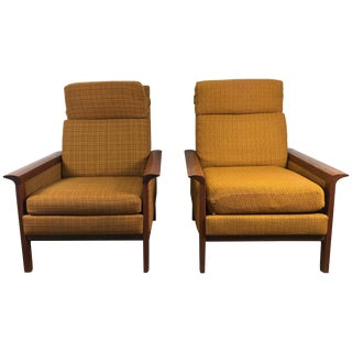 Classic Danish Modern High Back Teak Lounge Chairs by Hans Olsen - a Pair For Sale