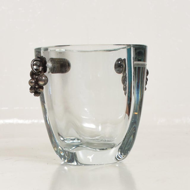 Blue Beautiful Strombergshyttan Thick Glass Vase With Silver Grapevine Accents For Sale - Image 8 of 10
