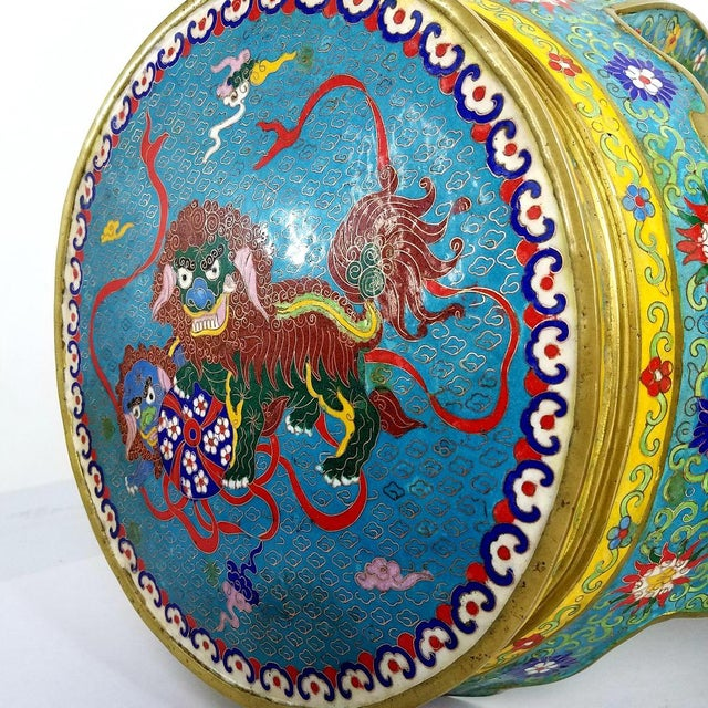 Chinese Cloisonne Bronze Stools - a Pair For Sale - Image 10 of 13