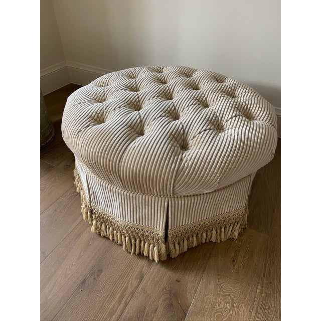 2010s Custom Tufted Upholstered Ottoman with Fringe For Sale - Image 5 of 6