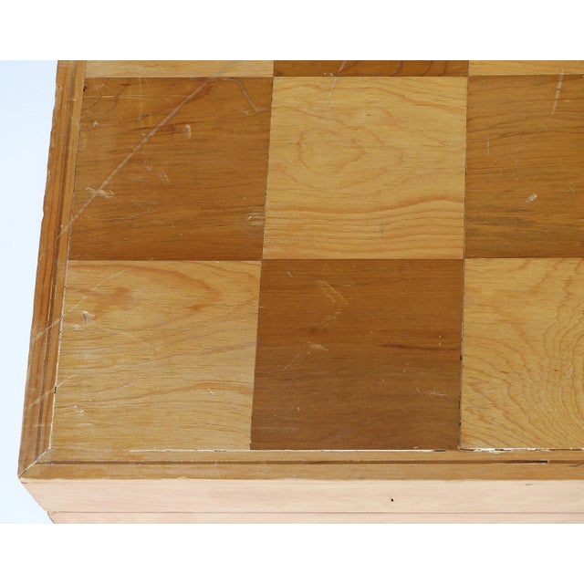 Plaster Monumental Wood Case Chess Set W/ Plaster Chess Pieces For Sale - Image 7 of 11
