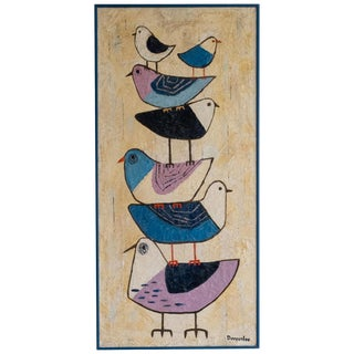 Midcentury Abstract Bird Painting by Doreen Lee For Sale