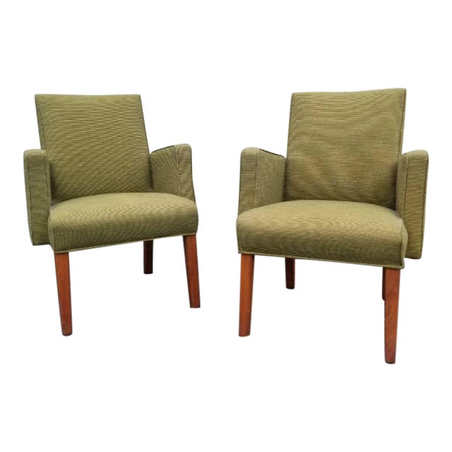 Mid Century Modern Green Lounge Chairs by Milwaukee Chair Company - Pair For Sale