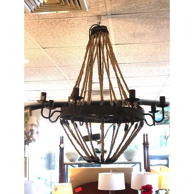 Metal 8 Arm Iron and Rope Chandelier For Sale - Image 7 of 8