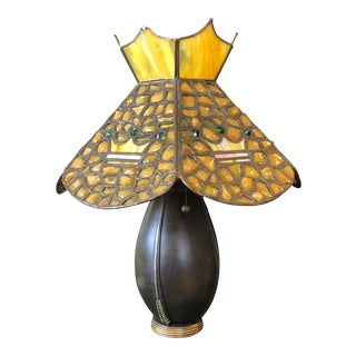 Antique Bronze Lamp With Leaded Glass Shade For Sale