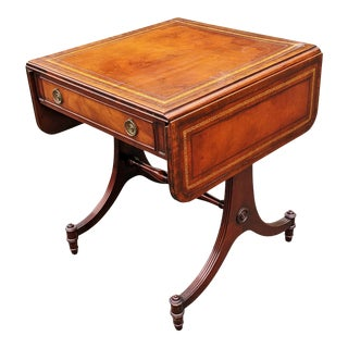 Antique English Regency Style Mahogany & Tooled Leather Drop Leaf Sofa Table For Sale