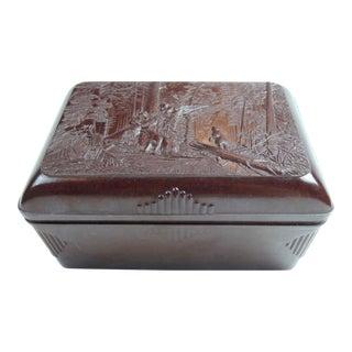 20th Century Russian Forest Scenic Bakelite Box, Rare, Accessory, Man's Box, Study, Office, Library, Desk Box For Sale