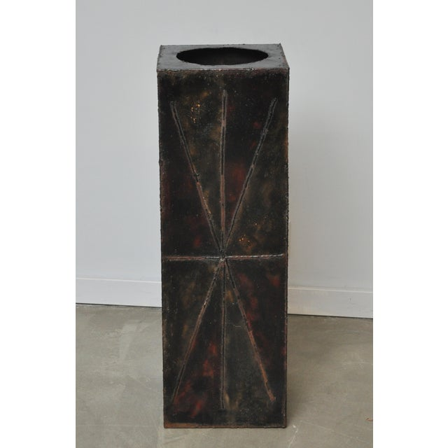 Paul Evans Sculptural Steel Planter Pedestal - Image 4 of 8