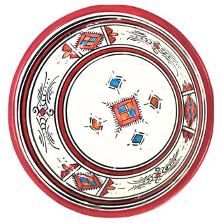 Moroccan Hand-Painted Small Red Ceramic Bowl For Sale