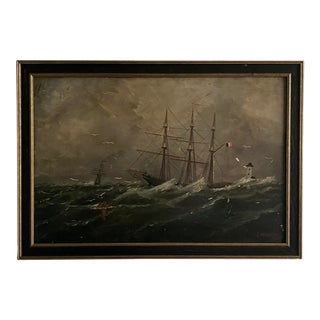 19th Century Seascape Oil Painting on Board by J. Kennedy For Sale
