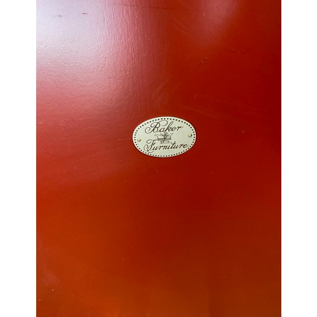 Baker Furniture Company Baker Furniture Asian Style Red Tray Table For Sale - Image 4 of 7