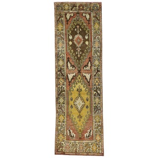 20th Century Turkish Oushak Tribal Style Hallway Runner - 3′6″ × 11′2″ For Sale