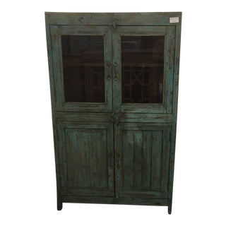Tall Cabinet in Blue Rustic Finish Made of Teakwood For Sale