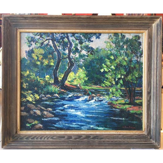 William Fisher (American 1890-1985) Untitled Maine landscape with river. Modernist post impressionist style executed in...