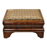 Image of 19th Century Antique American Empire Flame Crotch Mahogany Footstool Ottoman For Sale