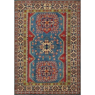 Geometric Kazak Rug Hand-Knotted 3'4'' X 4'10'' For Sale