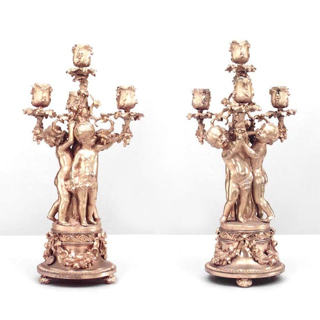 Pair of French Louis XV Style '19th Century' Four-Arm Candelabra For Sale In New York - Image 6 of 6