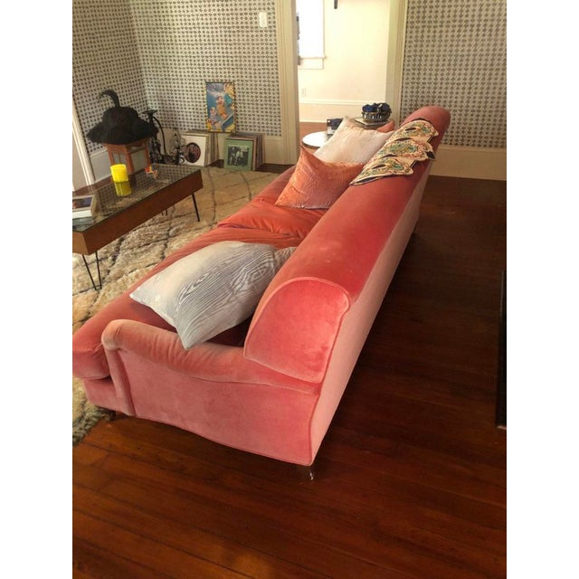 2010s Large Pink Velvet Couch For Sale - Image 5 of 5