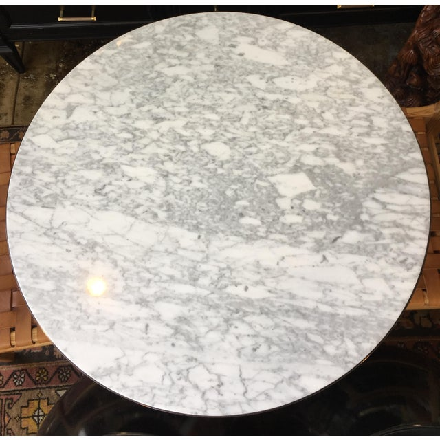 Round Cafe Bistro Table With Carrera Marble Top For Sale - Image 4 of 5