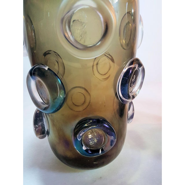 Seguso Large Mid Century Modern Brown & Purple Iridescent Vase, by Seguso 1970s For Sale - Image 4 of 8