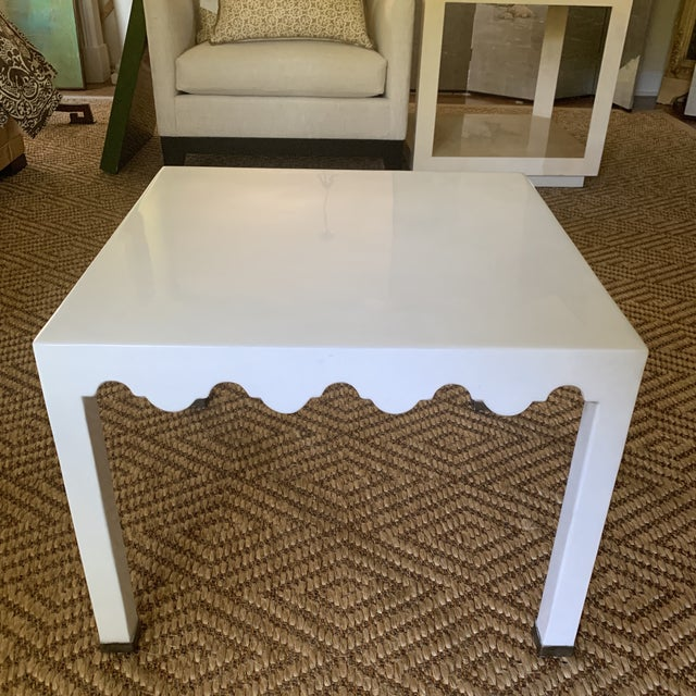 White Lacquered Grass Cloth Moroccan Style Side Tables- a Pair For Sale - Image 4 of 12
