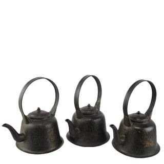 Copper Decorative Beijing Teapots - Set of 3 For Sale