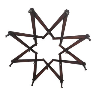 Folk Art Antique Walnut Wall Hat Rack For Sale