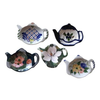 Vintage Handpainted Teabag Holders – Set of 5 For Sale
