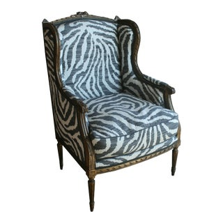 Newly Reupholstered 1850 French Gilt Wood Bergere Chair For Sale