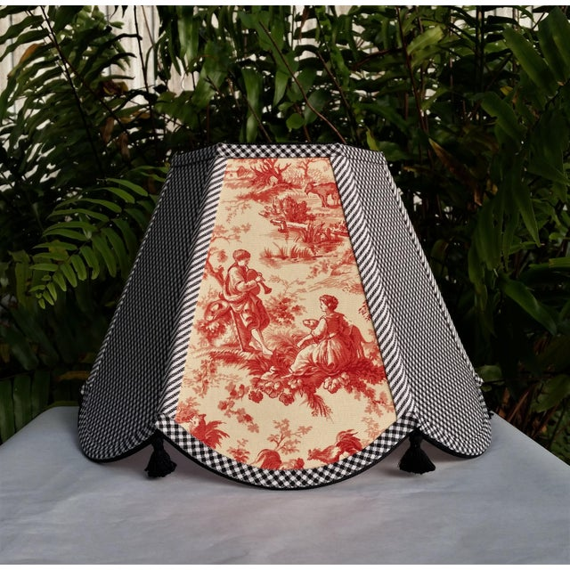 Red Toile Lampshade Black White Gingham For Sale - Image 11 of 11