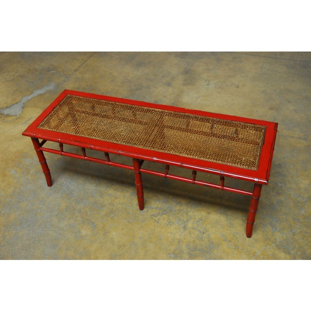 Red Lacquer Faux Bamboo Cane Bench - Image 3 of 5