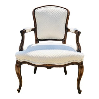 Louis XV Fauteuil of Fruitwood Dressed in Greek Key Linen For Sale