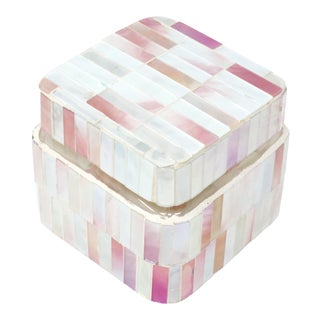Handmade Mosaic Pink and Pearl Iridescent Tile Lidded Glass Jar - Heavy!! For Sale