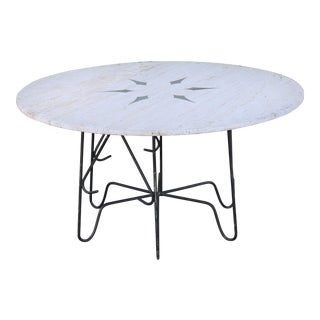 Rustic Round Travertine Top Table W/ Wrought Iron Base For Sale