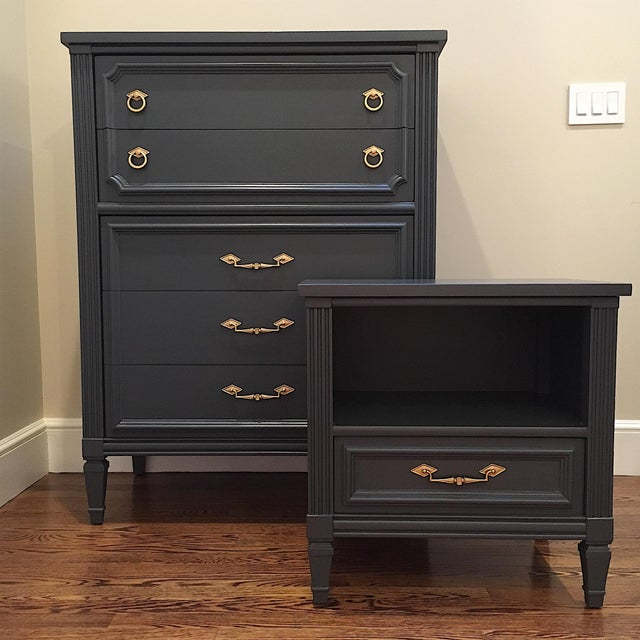 1970s Hollywood Regency Bassett Gray Tall Dresser and Nightstand Set - 2 Pieces For Sale - Image 12 of 12