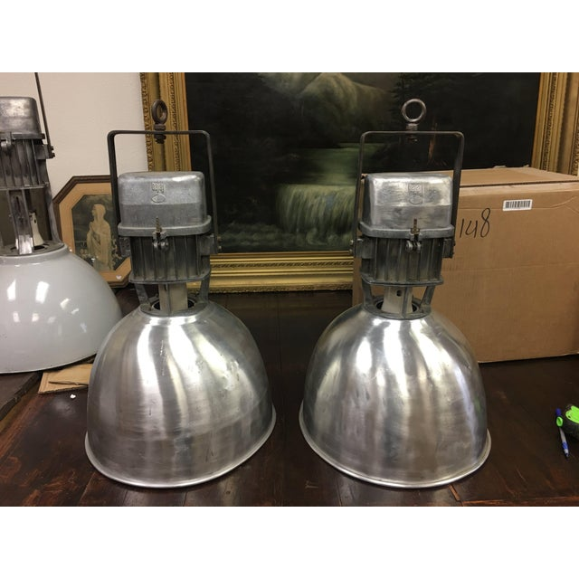 1950s Industrial Aluminum Hanging Pendant Lamps - a Pair For Sale - Image 10 of 13