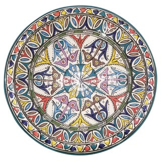 Contemporary Moroccan Hand Painted Pottery Plate, Multi-Color 91 For Sale