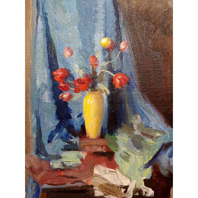Gladys Nelson Smith - Woman in Purple Looking at Flowers- Beautiful Oil Painting For Sale In Los Angeles - Image 6 of 11