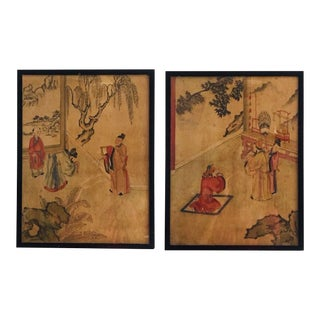 Antique Chinese Watercolor on Silk Paintings Original 19th Century - Pair For Sale