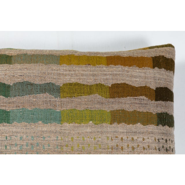 Boho Chic Indian Handwoven Pillow Bauhaus Green For Sale - Image 3 of 6